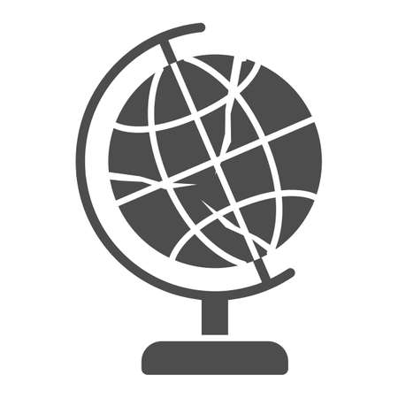 Global economy is bursting solid icon, economic sanctions concept, globe with crack sign on white background, financial global crisis icon in glyph style for mobile. Vector graphics.