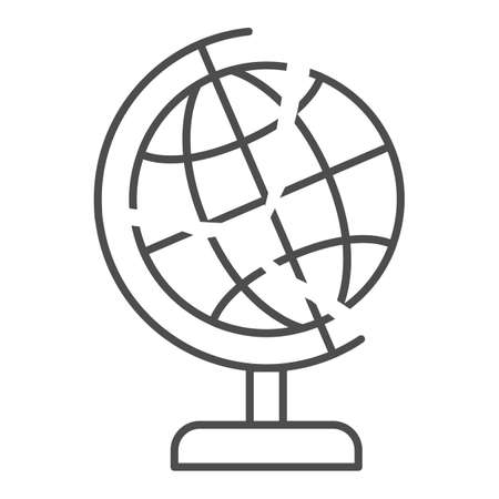 Global economy is bursting thin line icon, economic sanctions concept, globe with crack sign on white background, financial global crisis icon in outline style for mobile. Vector graphics.