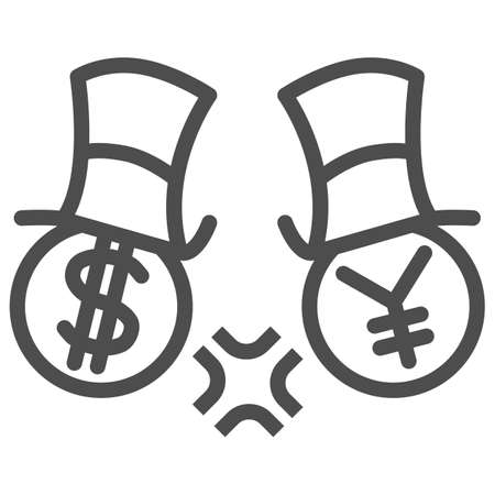 Dollar and yen conflict line icon, economic sanctions concept, competition currency in hats sign on white background, symbol of yen and dollar fighting icon outline style. Vector graphics.