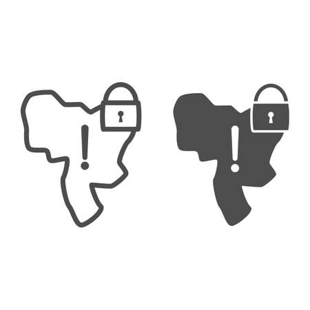 Country under lock and warning sign line and solid icon, economic sanctions concept, Country lockdown sign on white background, Sanctioned country icon in outline style for mobile. Vector graphics.