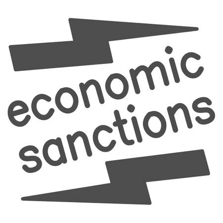 Economic sanctions text with lightning solid icon, economic sanctions concept, Economic sanction sign on white background, Signpost sanctions icon in glyph style. Vector graphics.