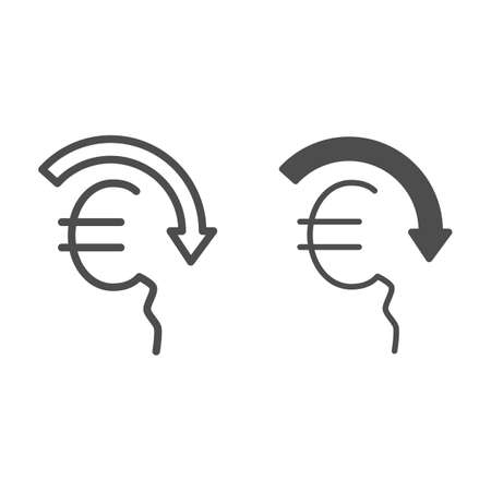 Euro rate fall line and solid icon, economic sanctions concept, Euro depreciation sign on white background, currency with decreasing arrow icon in outline style for mobile and web. Vector graphics.