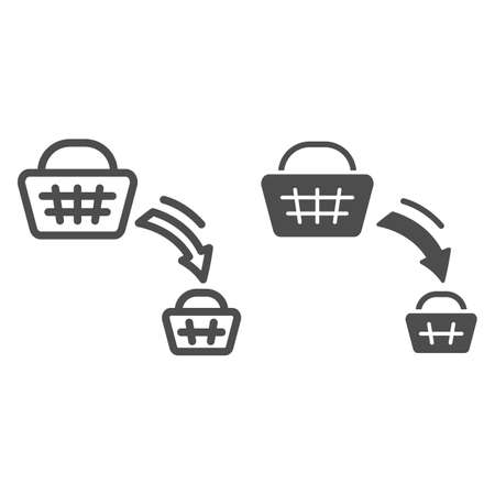 Shopping basket decrease line and solid icon, economic sanctions concept, decline in purchasing power sign on white background, big and small consumer basket icon in outline style. Vector graphics.