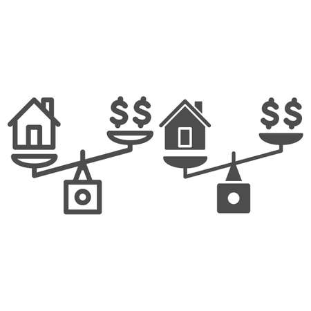 Dollar and house balance line and solid icon, finance concept, money and property on scales sign on white background, weighing or compare home and money icon in outline style. Vector graphics. 向量圖像