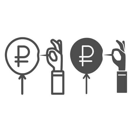 Hand with needle and ruble balloon line and solid icon, economic sanctions concept, ruble currency symbol pierced with needle white background, Russian rouble crisis danger icon outline style. Vector.