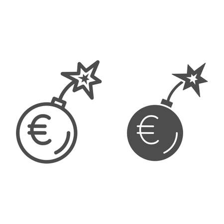 Round bomb with euro currency line and solid icon, economic sanctions concept, Euro grenade explosion sign on white background, Bursting euro icon in outline style for mobile and web. Vector graphics. 向量圖像