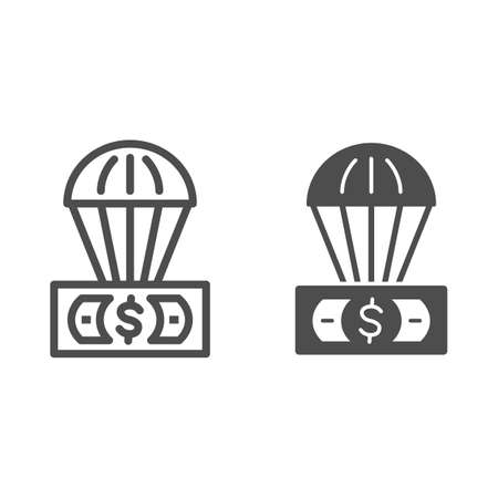 Dollar and air balloon line and solid icon, Finance concept, unsecured currency in air sign on white background, Hot air balloon with US dollar banknote icon in outline style. Vector graphics. 向量圖像