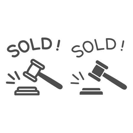Auction hammer with sold text line and solid icon, finance concept, hitting wooden gavel in auction sign on white background, hammer and word sold icon in outline style. Vector graphics.