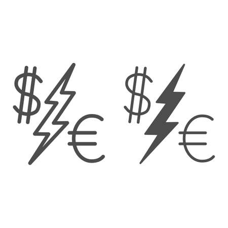Dollar vs Euro line and solid icon, economic sanctions concept, Currency Symbols with lightning sign on white background, euro and dollar icon in outline style for mobile and web. Vector graphics.