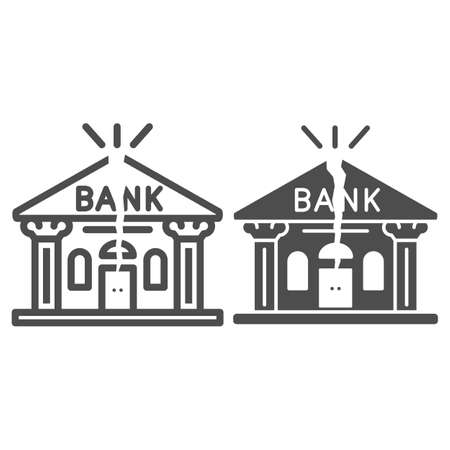 Bank is cracked line and solid icon, economic sanctions concept, Broken bank building sign on white background, Bank bankruptcy icon in outline style for mobile concept, web design. Vector graphics