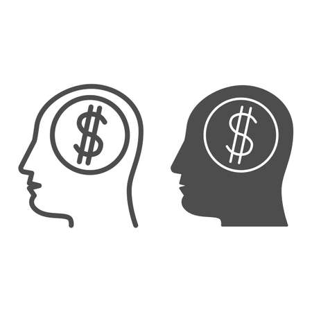 Dollar in human mind line and solid icon, finance concept, Thinking about money sign on white background, Business man head with dollar icon in outline style for mobile, web design. Vector graphics.