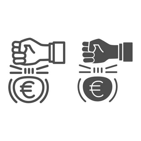 Fist and euro currency line and solid icon, economic sanctions concept, Hit euro with arm sign on white background, european currency under kick icon outline style for mobile and web. Vector graphics. 向量圖像
