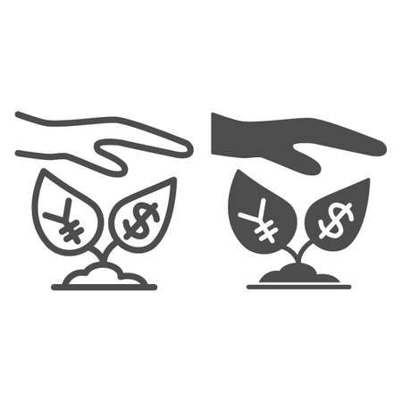 Yen and dollar growth control line and solid icon, economic sanctions concept, protective hand with currency plants sign on white background, Hand above dollar and yen icon outline. Vector graphics.