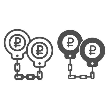 Ruble in handcuffs line and solid icon, economic sanctions concept, Rubles are shackled sign on white background, russian rouble under sanctions icon in outline style for mobile, web. Vector graphics. 向量圖像