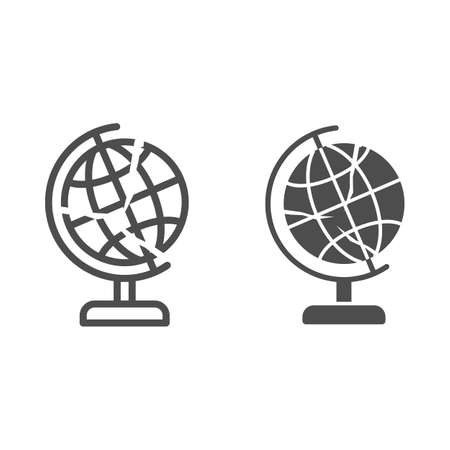 Global economy is bursting line and solid icon, economic sanctions concept, globe with crack sign on white background, financial global crisis icon in outline style for mobile. Vector graphics.