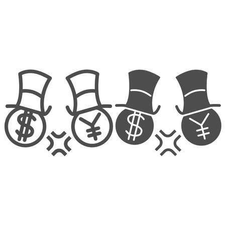 Dollar and yen conflict line and solid icon, economic sanctions concept, competition currency in hats sign on white background, symbol of yen and dollar fighting icon outline style. Vector graphics.
