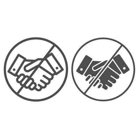 Prohibited handshake line and solid icon, economic sanctions concept, No Handshake sign on white background, No dealing or No collaboration icon in outline style for mobile and web. Vector graphics.