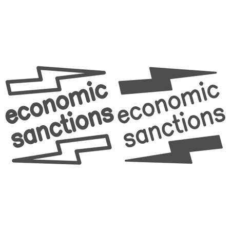 Economic sanctions text with lightning line and solid icon, economic sanctions concept, Economic sanction sign on white background, Signpost sanctions icon in outline style. Vector graphics. 向量圖像