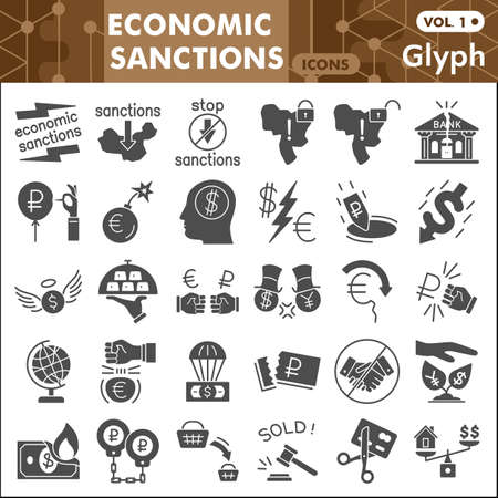 Economic sanctions solid icon set, Business war symbols collection or sketches. Finance sanctions glyph style signs for web and app. Vector graphics isolated on white background.
