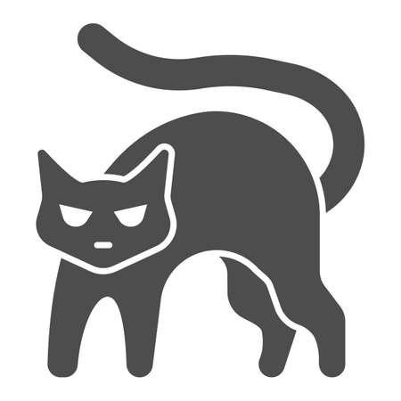 Black cat with arched back solid icon, halloween concept, hissing cat sign on white background, bad luck symbol icon in glyph style for mobile concept and web design. Vector graphics. 向量圖像