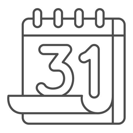 Calendar 31st thin line icon, important dates concept, calendar sheet sign on white background, thirty-first number on calendar icon in outline style for mobile concept. Vector graphics.