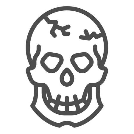 Skull with crack on forehead line icon, halloween concept, cracked skull sign on white background, dead head icon in outline style for mobile concept and web design. Vector graphics.