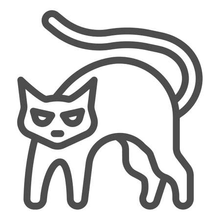 Black cat with arched back line icon, halloween concept, hissing cat sign on white background, bad luck symbol icon in outline style for mobile concept and web design. Vector graphics.