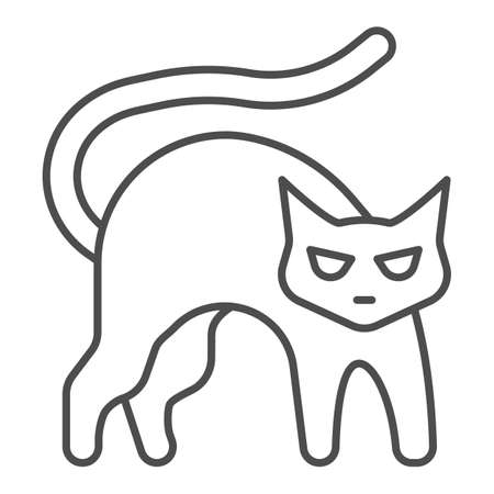 Black cat with arched back thin line icon, halloween concept, hissing cat sign on white background, bad luck symbol icon in outline style for mobile concept and web design. Vector graphics.