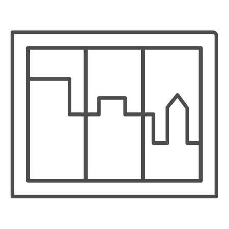 City landscape in window thin line icon, interior design concept, casement sign on white background, window overlooking houses icon in outline style for mobile concept. Vector graphics.