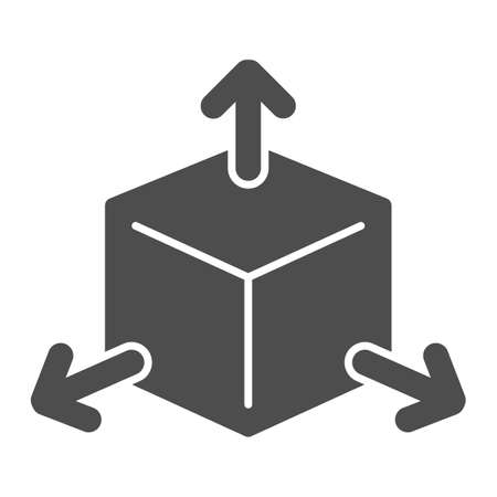 Cube with arrows solid icon, choice of directions or mathematical concept, three faces of cube sign on white background, volumetric square with arrows icon in glyph style. Vector graphics.