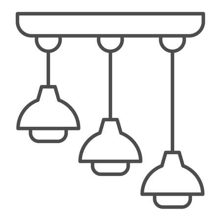Hanging lamps thin line icon, interior design concept, ceiling lamp sign on white background, light bulb in lampshade icon in outline style for mobile concept and web design. Vector graphics.