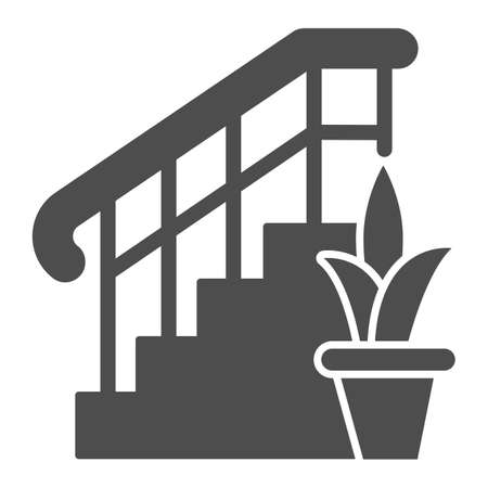 Ladder with railings and plant solid icon, interior design concept, stair and flower sign on white background, staircase icon in glyph style for mobile concept. Vector graphics.