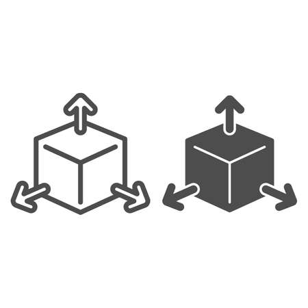 Cube with arrows line and solid icon, choice of directions or mathematical concept, three faces of cube sign on white background, volumetric square with arrows icon in outline style. Vector graphics. Çizim