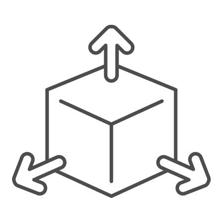 Cube with arrows thin line icon, choice of directions or mathematical concept, three faces of cube sign on white background, volumetric square with arrows icon in outline style. Vector graphics.