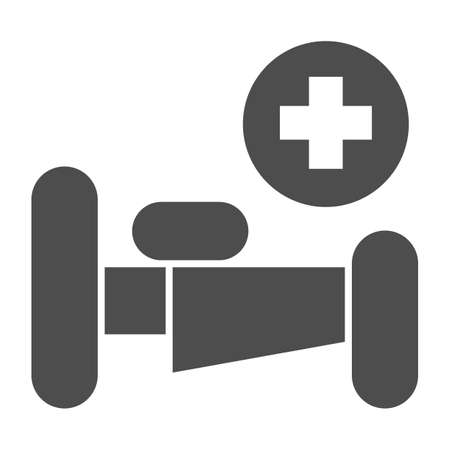 Hospital bed with cross solid icon, Medical concept, emergency service sign on white background, hospital sign with bed and cross in glyph style for mobile and web design. Vector graphics.