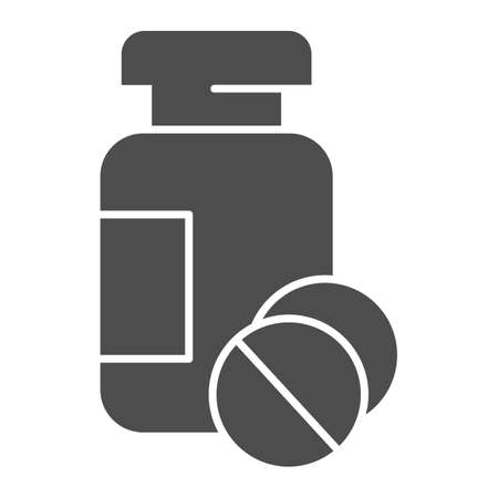 Drug jar and tablets solid icon, Medical concept, medication sign on white background, Medicine bottle and pills icon in glyph style for mobile concept and web design. Vector graphics.