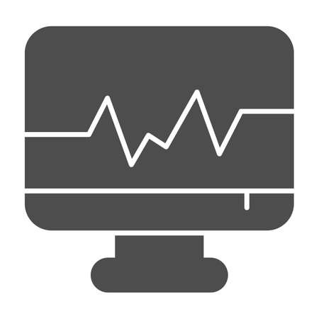Heart rate on monitor solid icon, Medical concept, Ecg machine sign on white background, computer with cardiogram icon in glyph style for mobile concept and web design. Vector graphics.