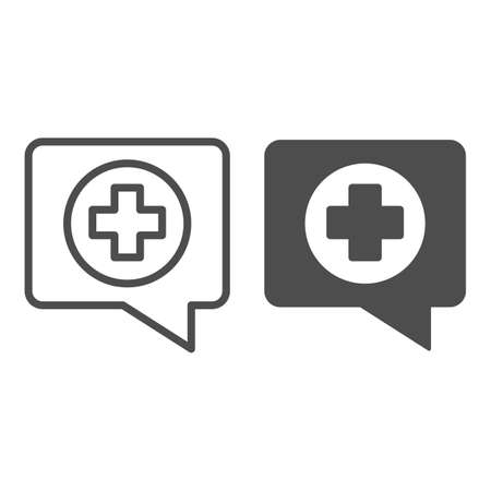 Dialogue and medical sign line and solid icon, medicine concept, Medical consultation sign on white background, Chat box with medical cross icon in outline style for mobile and web. Vector graphics.