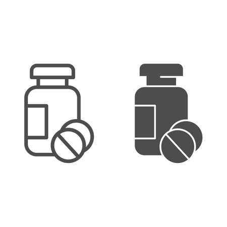 Drug jar and tablets line and solid icon, Medical concept, medication sign on white background, Medicine bottle and pills icon in outline style for mobile concept and web design. Vector graphics.