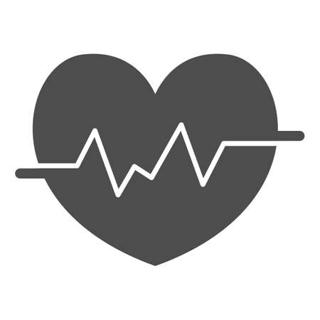 Heart rate in heart solid icon, Medical concept, Heartbeat sign on white background, Life line icon in glyph style for mobile concept and web design. Vector graphics.