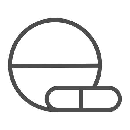 Tablet and capsule line icon, Medical concept, Pills sign on white background, Medical tablet and pill icon in outline style for mobile concept and web design. Vector graphics.