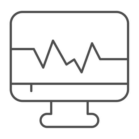Heart rate on monitor thin line icon, Medical concept, Ecg machine sign on white background, computer with cardiogram icon in outline style for mobile concept and web design. Vector graphics.