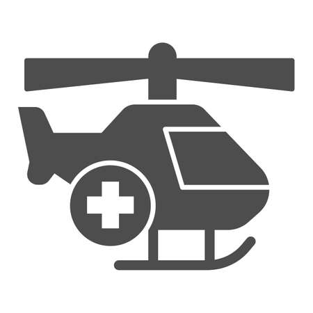 Medical helicopter solid icon, Medical concept, emergency transport service sign on white background, Helicopter with cross icon in glyph style for mobile and web design. Vector graphics.