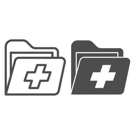 Folder with medical cross line and solid icon, medicine concept, patient medical record sign on white background, Health Record Folder icon in outline style for mobile and web design. Vector graphics.
