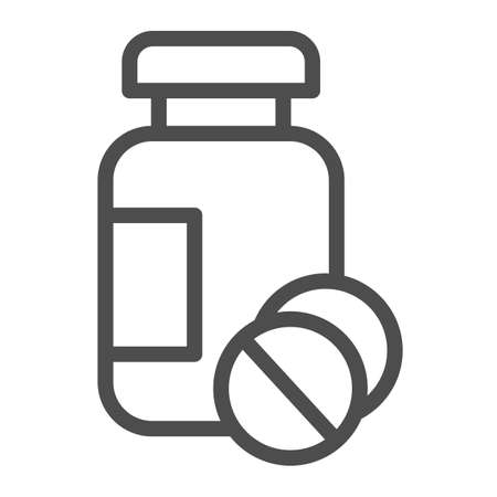Drug jar and tablets line icon, Medical concept, medication sign on white background, Medicine bottle and pills icon in outline style for mobile concept and web design. Vector graphics. Ilustracja