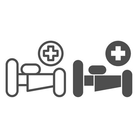 Hospital bed with cross line and solid icon, Medical concept, emergency service sign on white background, hospital sign with bed and cross in outline style for mobile and web design. Vector graphics. Ilustracja