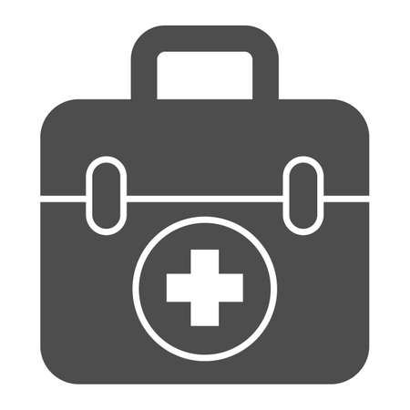 First aid kit solid icon, Medical concept, Medical Kit sign on white background, First aid box with cross icon in glyph style for mobile concept and web design. Vector graphics.