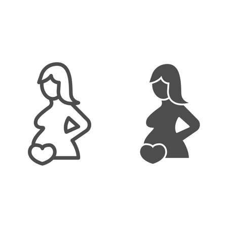Pregnant woman and heart line and solid icon, Medical concept, Pregnancy sign on white background, Pregnant woman silhouette icon in outline style for mobile concept and web design. Vector graphics. 矢量图像