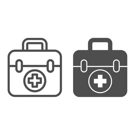 First aid kit line and solid icon, Medical concept, Medical Kit sign on white background, First aid box with cross icon in outline style for mobile concept and web design. Vector graphics. Illusztráció