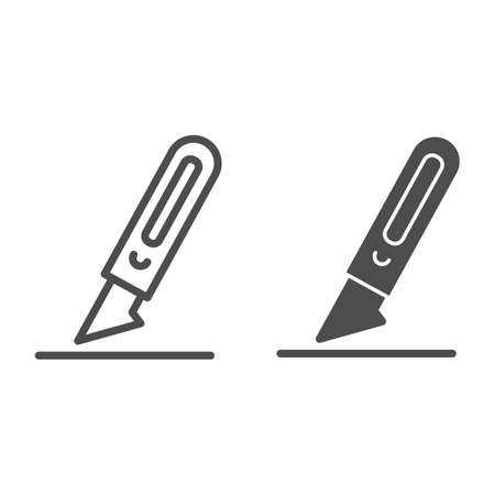 Scalpel line and solid icon, Medical concept, Surgical instruments sign on white background, scalpel knife icon in outline style for mobile concept and web design. Vector graphics.